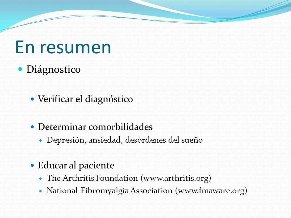 En resumen Diágnostico Verificar el diagnóstico