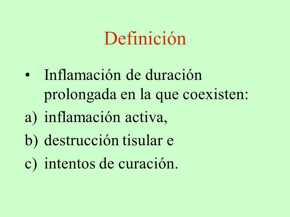 Definición Inflamación de duración prolongada en la que coexisten: