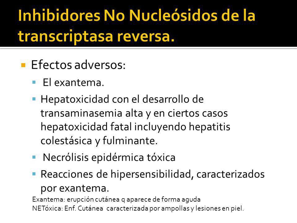 Inhibidores No Nucleósidos de la transcriptasa reversa.