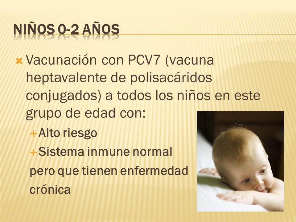 Niños 0-2 añosVacunación con PCV7 (vacuna heptavalente de polisacáridos conjugados) a todos los niños en este grupo de edad con: