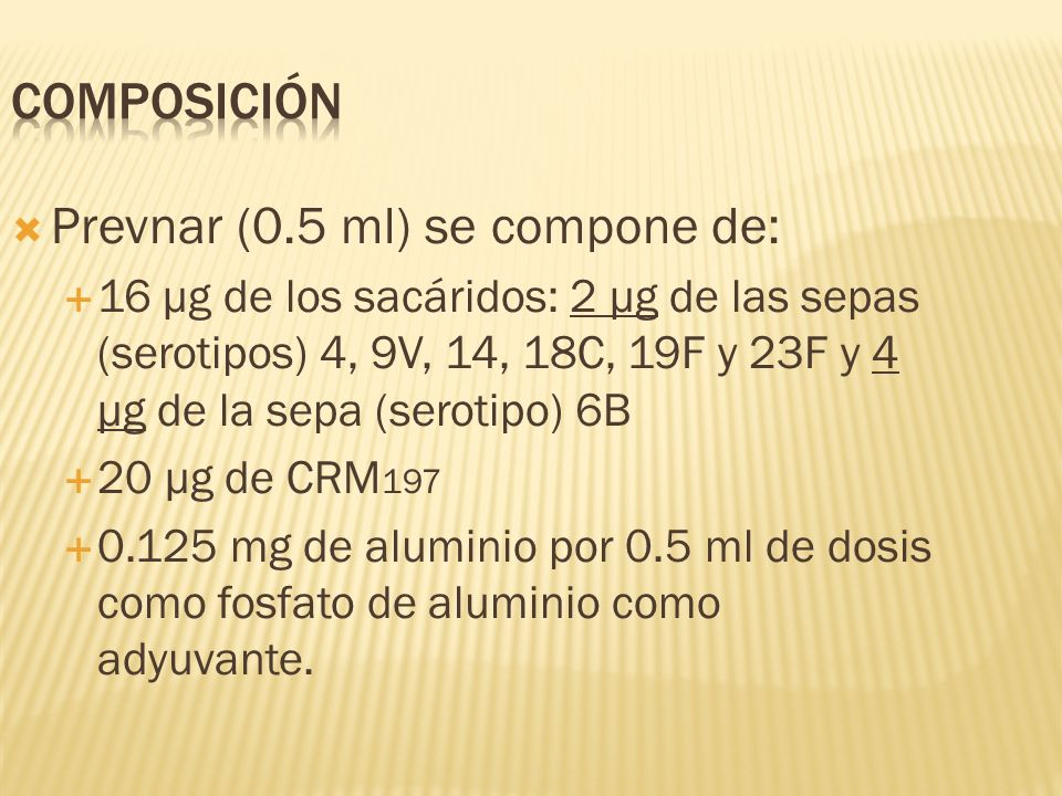 Prevnar (0.5 ml) se compone de: