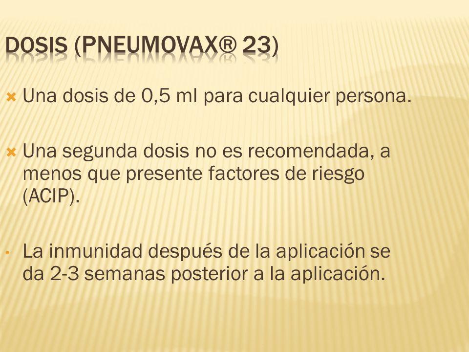 Dosis (PNEUMOVAX® 23) Una dosis de 0,5 ml para cualquier persona.