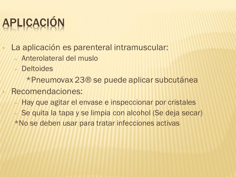 Aplicación La aplicación es parenteral intramuscular: