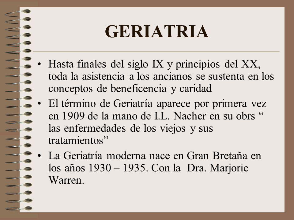 GERIATRIA Hasta finales del siglo IX y principios del XX, toda la asistencia a los ancianos se sustenta en los conceptos de beneficencia y caridad.