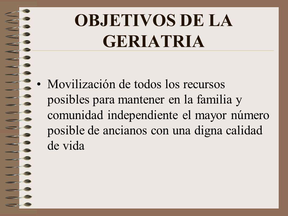 OBJETIVOS DE LA GERIATRIA