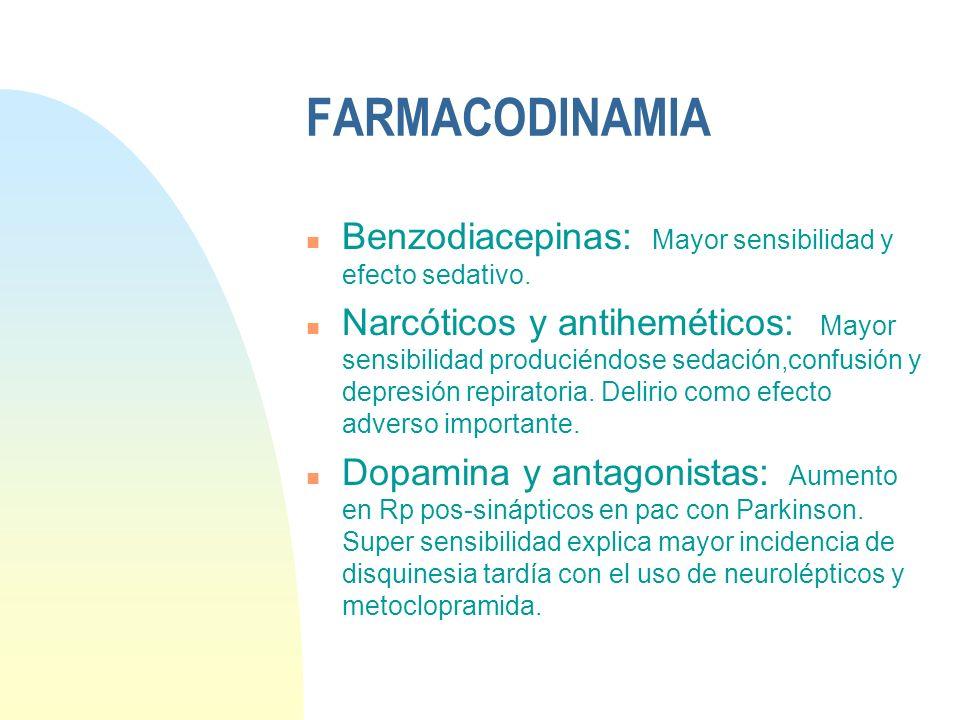 FARMACODINAMIA Benzodiacepinas: Mayor sensibilidad y efecto sedativo.