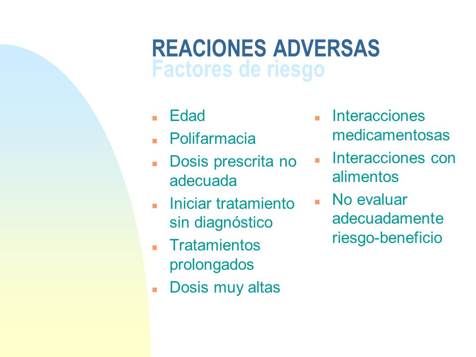 REACIONES ADVERSAS Factores de riesgo