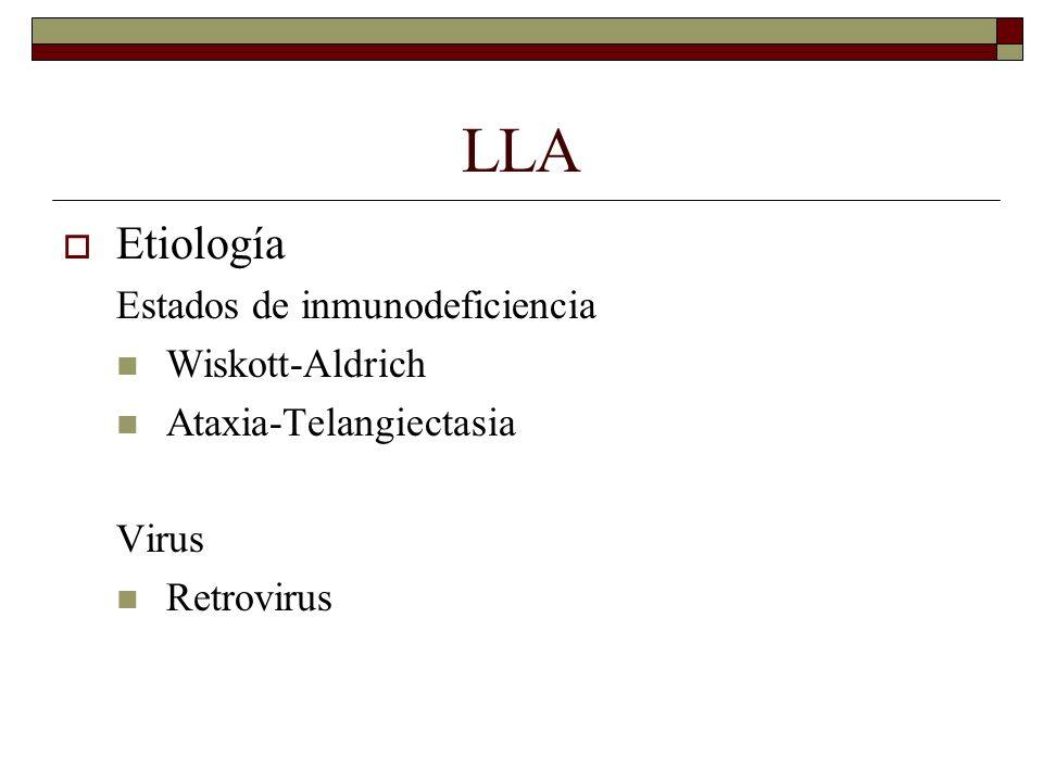 LLA Etiología Estados de inmunodeficiencia Wiskott-Aldrich