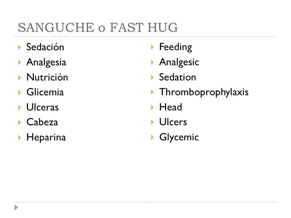 SANGUCHE o FAST HUG Sedación Analgesia Nutrición Glicemia Ulceras