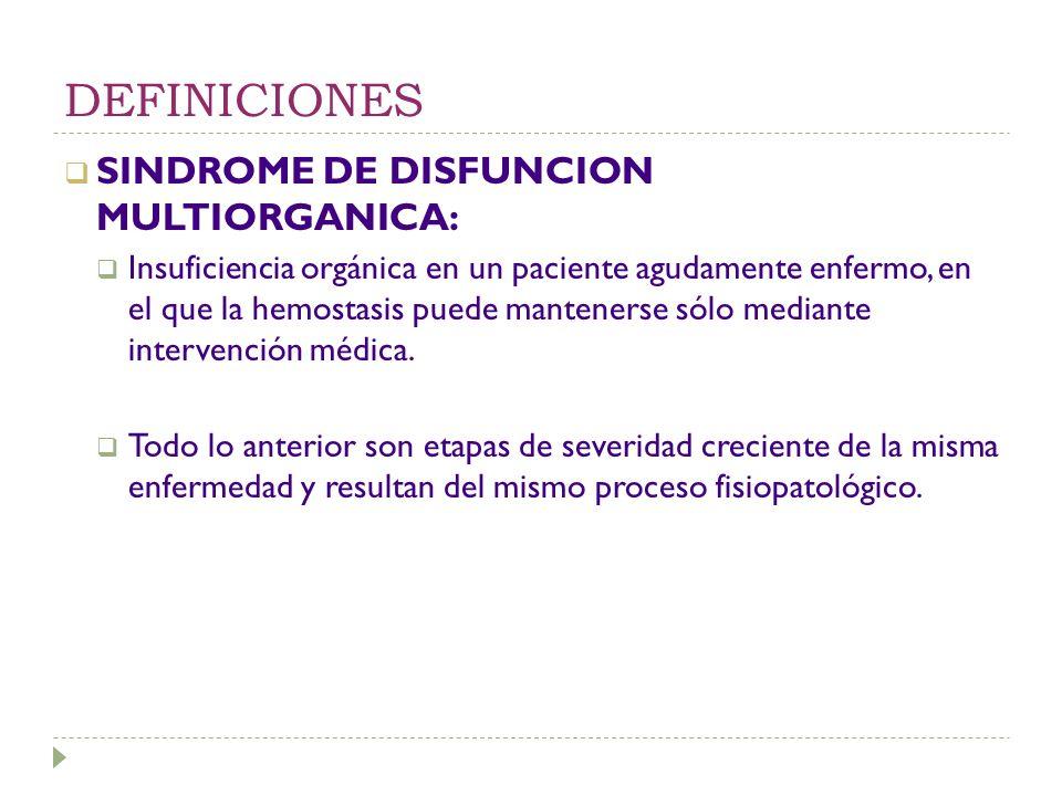 DEFINICIONES SINDROME DE DISFUNCION MULTIORGANICA: