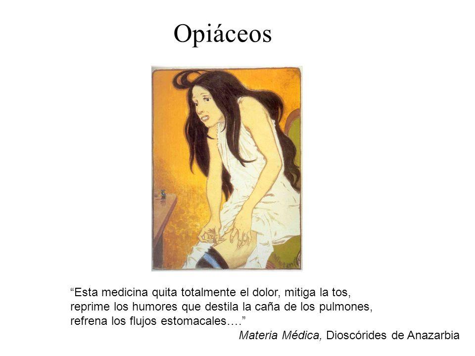 Opiáceos Esta medicina quita totalmente el dolor, mitiga la tos,