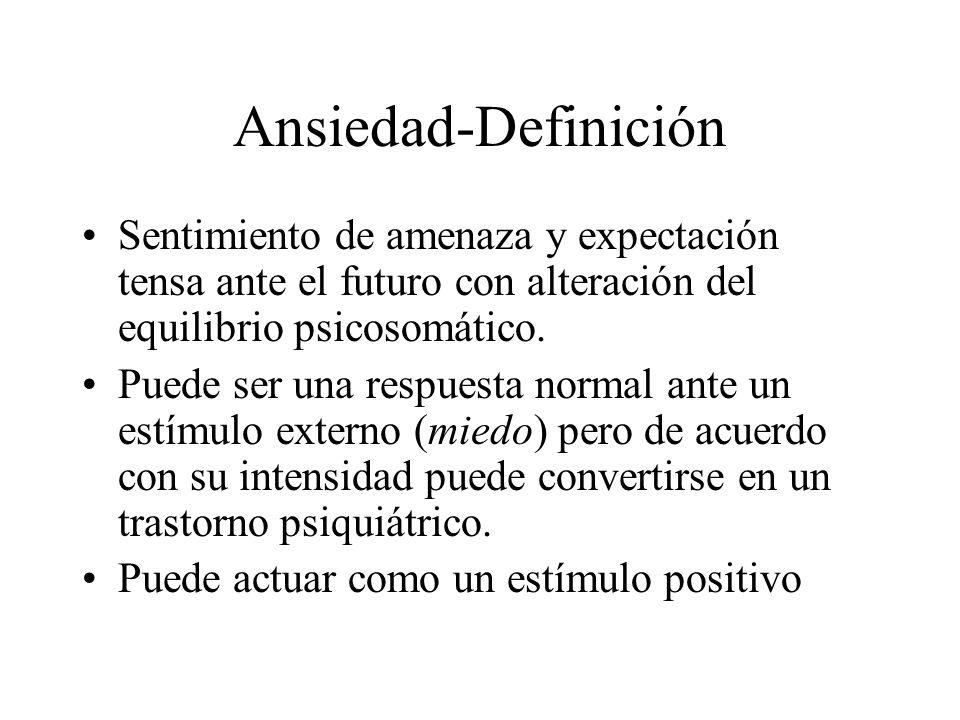 Ansiedad-DefiniciónSentimiento de amenaza y expectación tensa ante el futuro con alteración del equilibrio psicosomático.