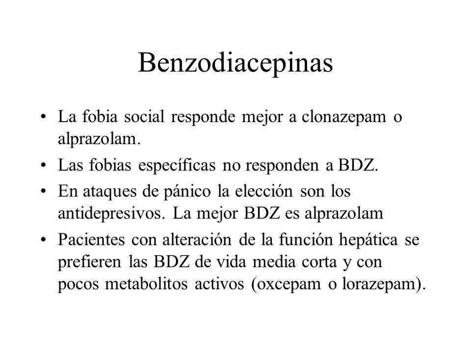 BenzodiacepinasLa fobia social responde mejor a clonazepam o alprazolam. Las fobias específicas no responden a BDZ.