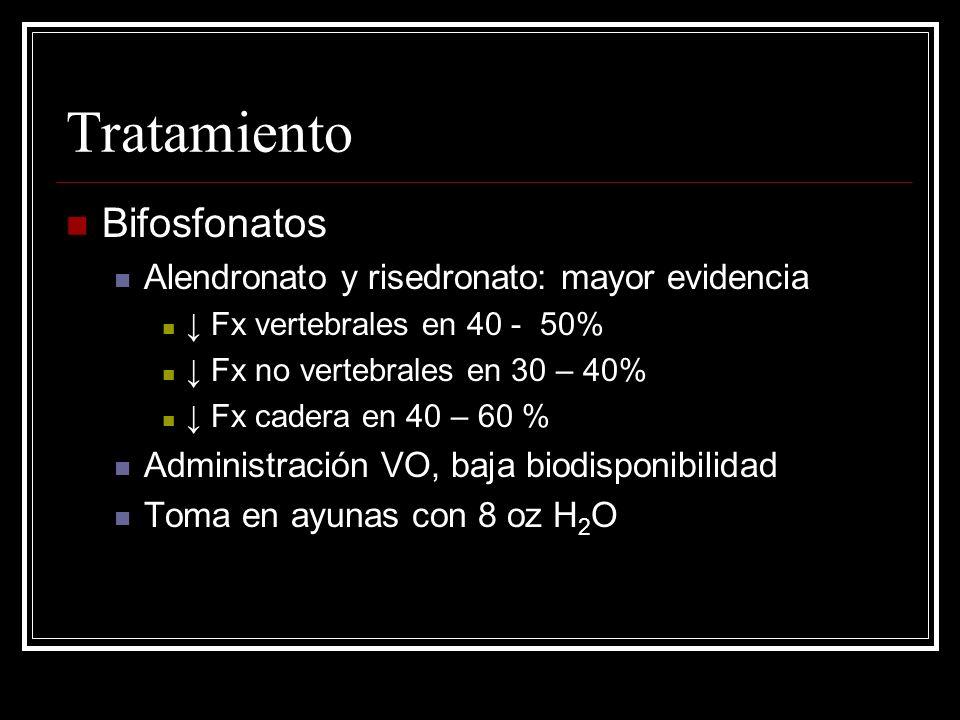 Tratamiento Bifosfonatos Alendronato y risedronato: mayor evidencia