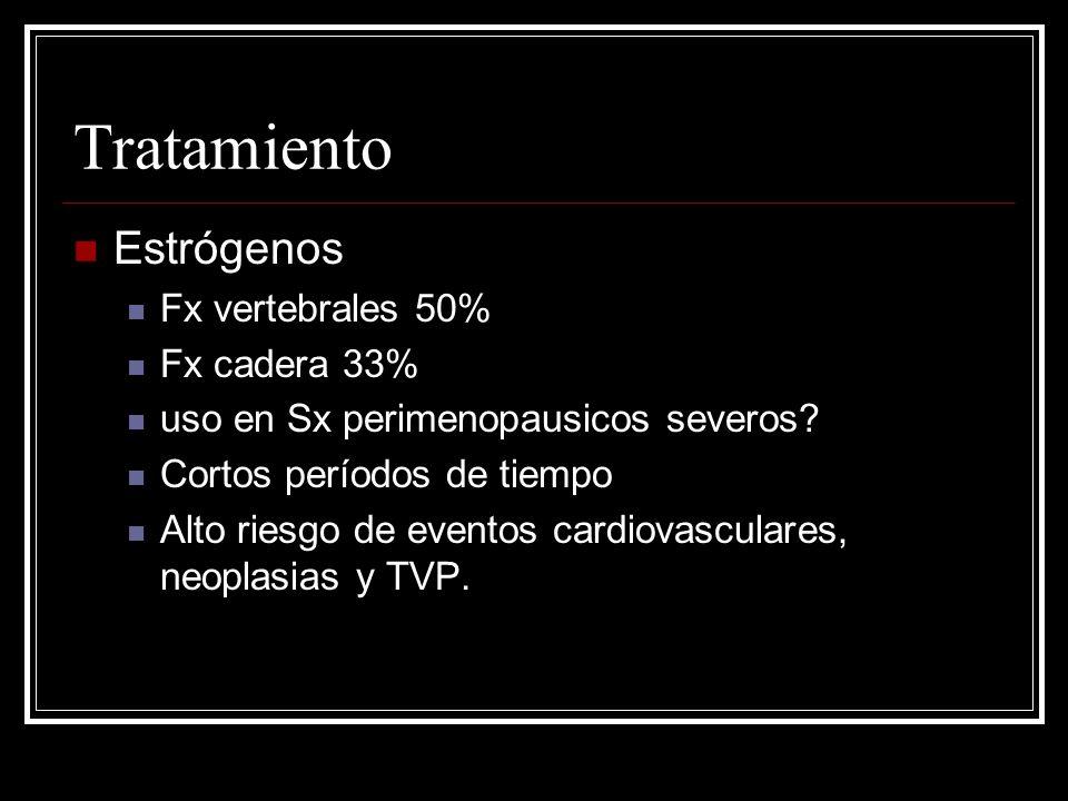 Tratamiento Estrógenos Fx vertebrales 50% Fx cadera 33%