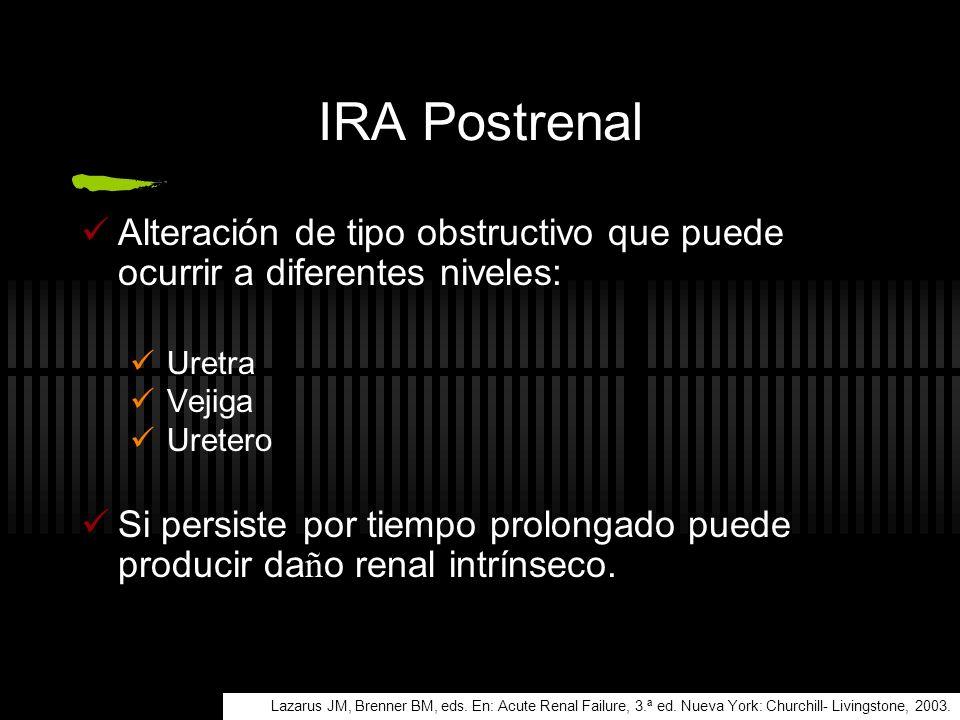 IRA Postrenal Alteración de tipo obstructivo que puede ocurrir a diferentes niveles: Uretra. Vejiga.