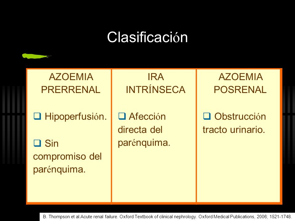 Clasificación AZOEMIA PRERRENAL Hipoperfusión.