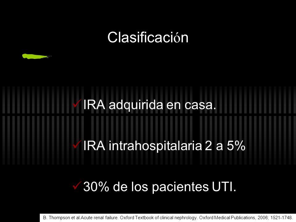 Clasificación IRA adquirida en casa. IRA intrahospitalaria 2 a 5%