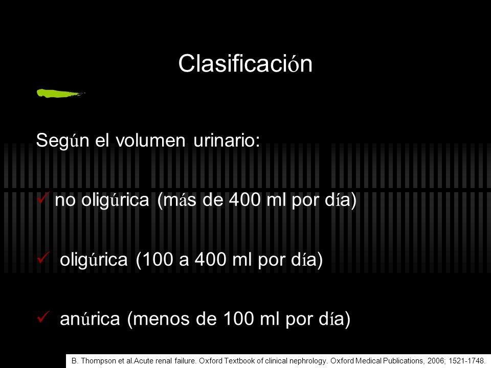Clasificación Según el volumen urinario: