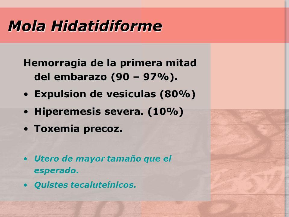 Mola Hidatidiforme Hemorragia de la primera mitad del embarazo (90 – 97%). Expulsion de vesiculas (80%)