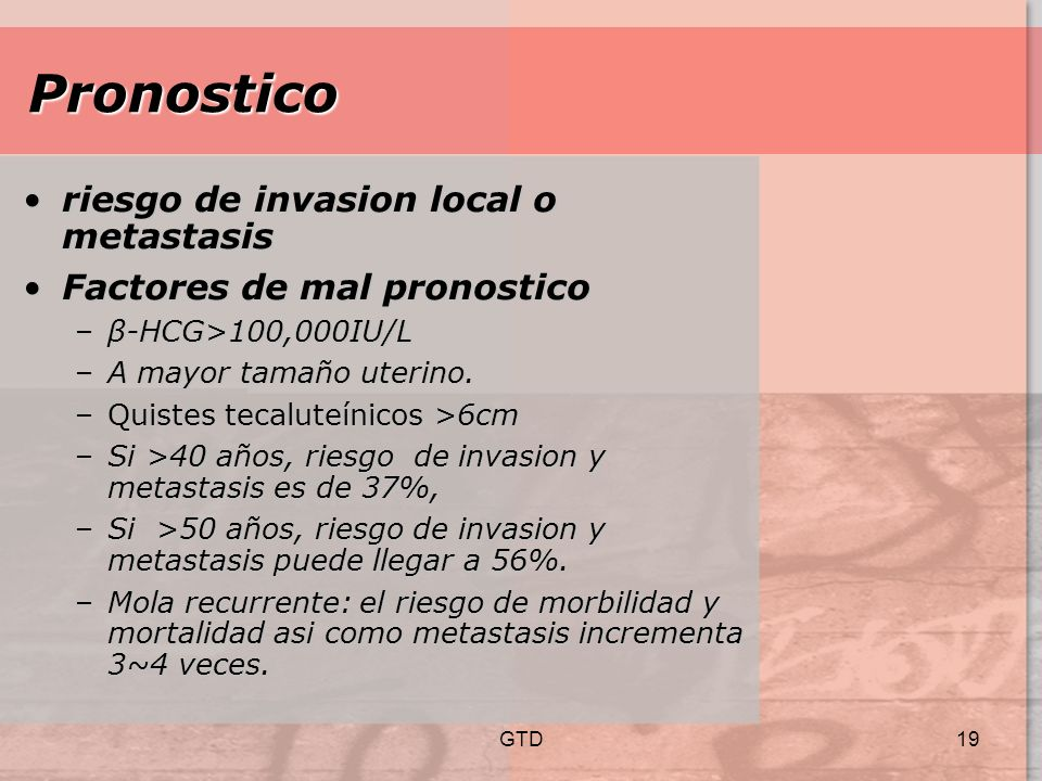 Pronostico riesgo de invasion local o metastasis