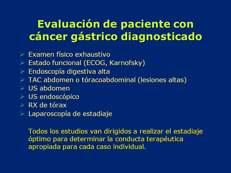 Evaluación de paciente con cáncer gástrico diagnosticado