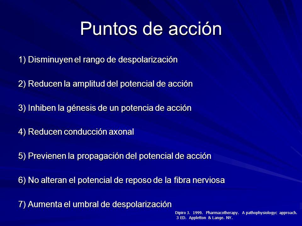 Puntos de acción 1) Disminuyen el rango de despolarización