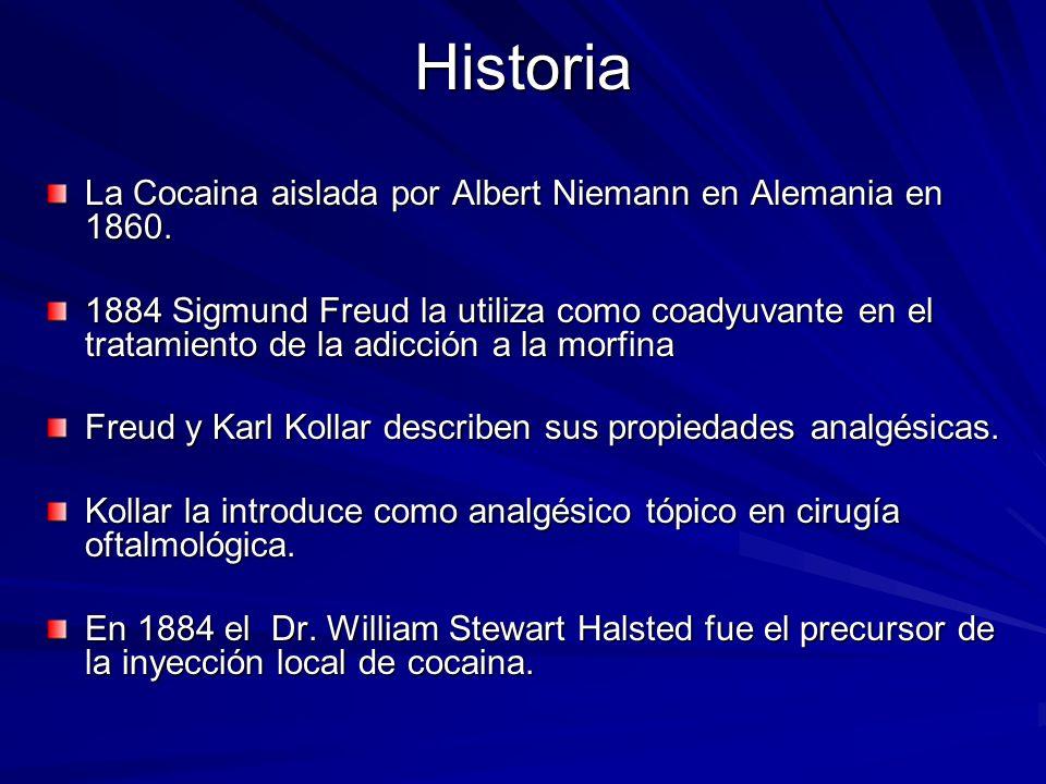 Historia La Cocaina aislada por Albert Niemann en Alemania en 1860.