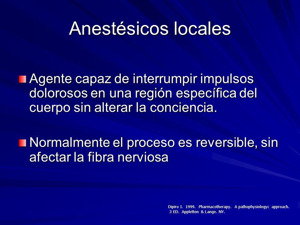 Anestésicos locales Agente capaz de interrumpir impulsos dolorosos en una región específica del cuerpo sin alterar la conciencia.