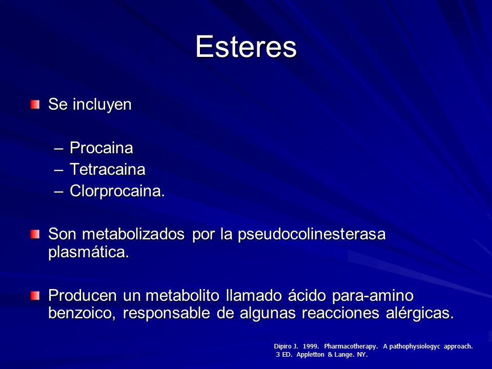 Esteres Se incluyen Procaina Tetracaina Clorprocaina.