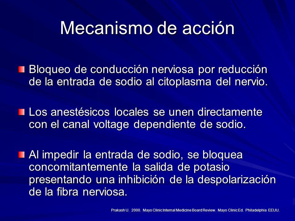 Mecanismo de acción Bloqueo de conducción nerviosa por reducción de la entrada de sodio al citoplasma del nervio.