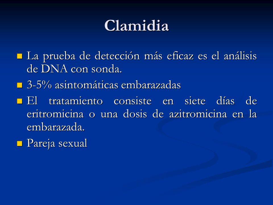 Clamidia La prueba de detección más eficaz es el análisis de DNA con sonda. 3-5% asintomáticas embarazadas.