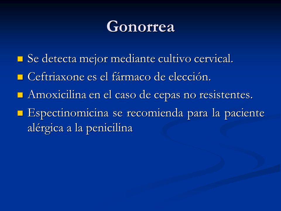 Gonorrea Se detecta mejor mediante cultivo cervical.