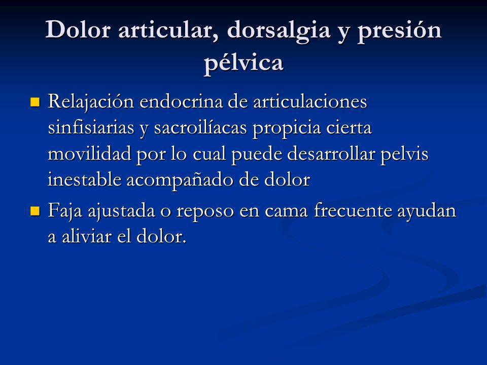 Dolor articular, dorsalgia y presión pélvica