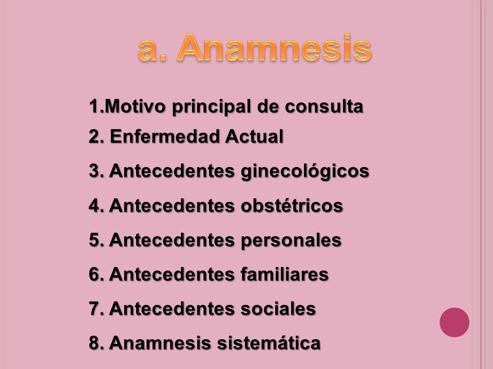 a. Anamnesis 1.Motivo principal de consulta 2. Enfermedad Actual