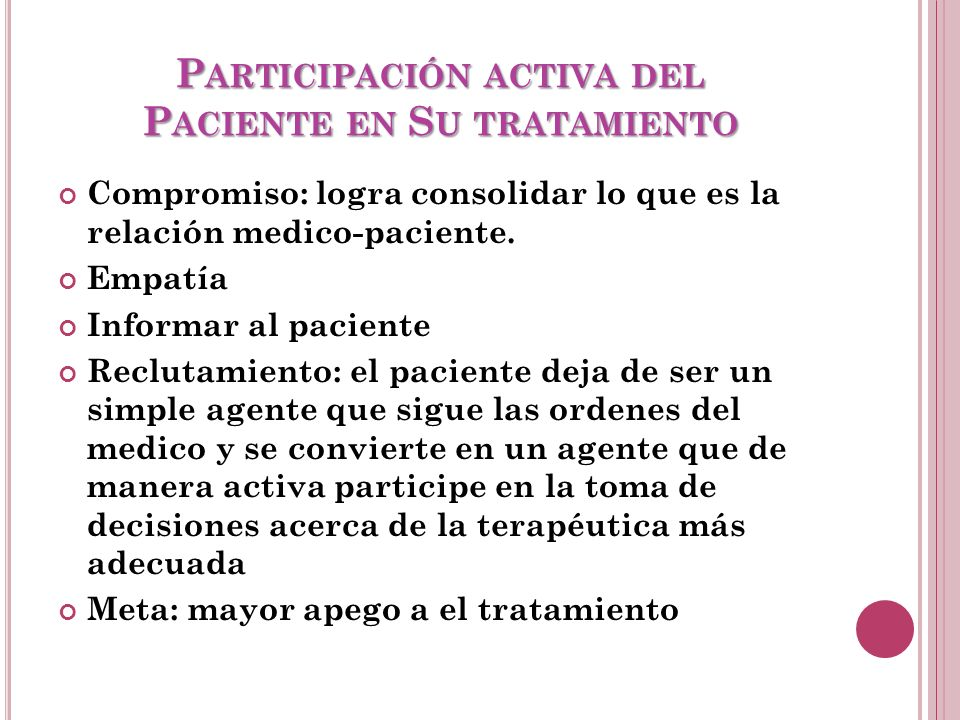 Participación activa del Paciente en Su tratamiento