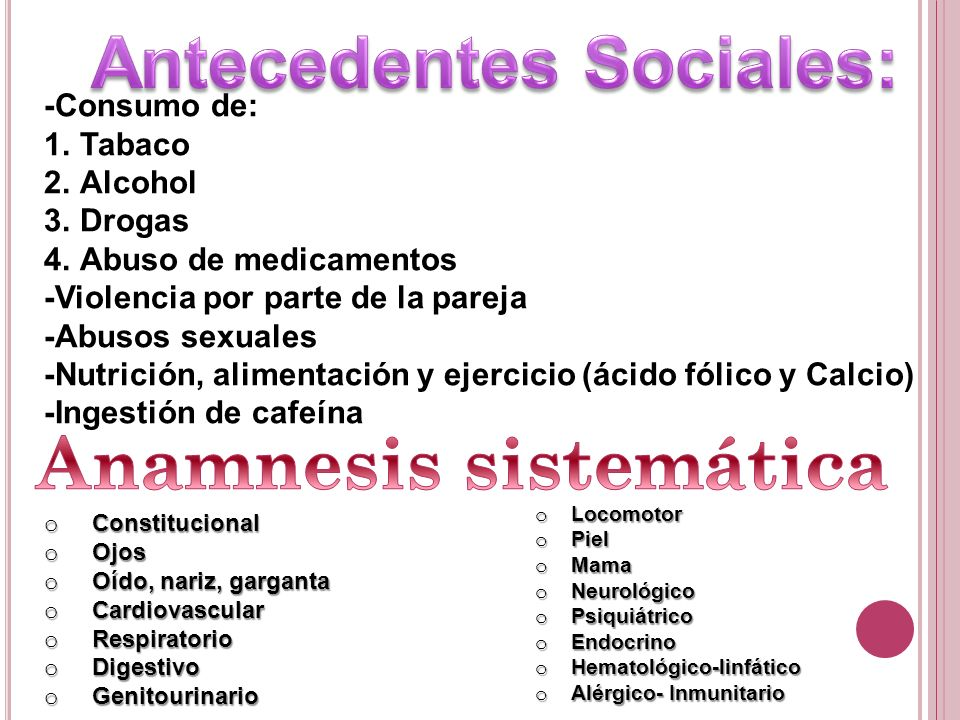 Antecedentes Sociales: