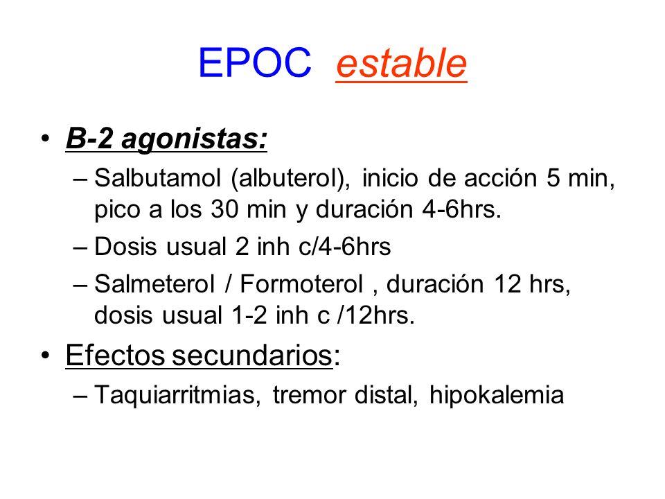 EPOC estable B-2 agonistas: Efectos secundarios: