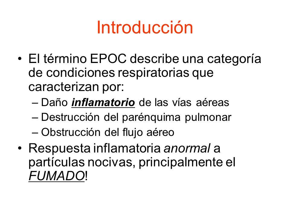 Introducción El término EPOC describe una categoría de condiciones respiratorias que caracterizan por: