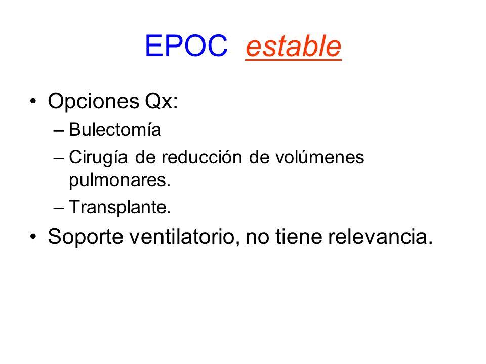 EPOC estable Opciones Qx: Soporte ventilatorio, no tiene relevancia.