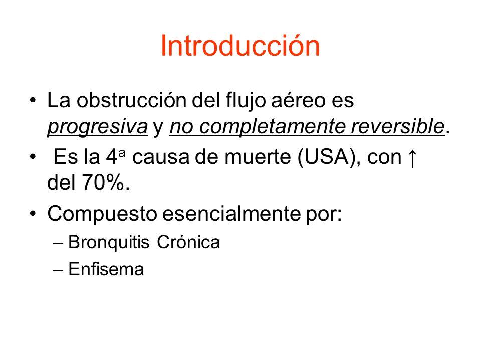 Introducción La obstrucción del flujo aéreo es progresiva y no completamente reversible. Es la 4a causa de muerte (USA), con ↑ del 70%.