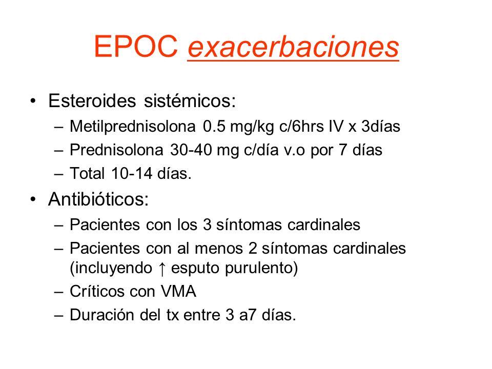 EPOC exacerbaciones Esteroides sistémicos: Antibióticos: