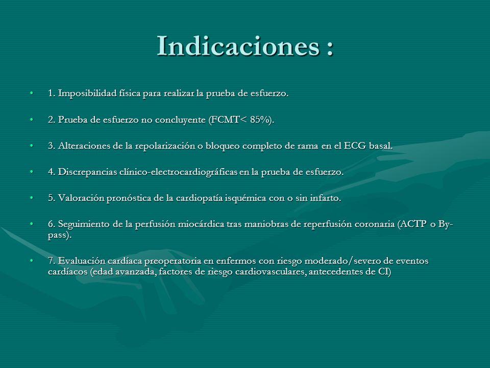 Indicaciones : 1. Imposibilidad física para realizar la prueba de esfuerzo. 2. Prueba de esfuerzo no concluyente (FCMT< 85%).