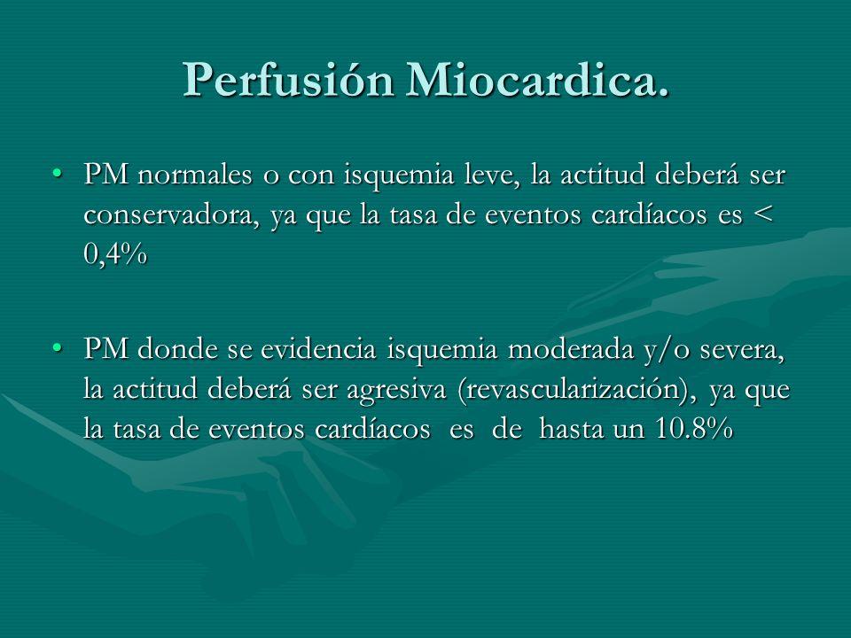 Perfusión Miocardica.PM normales o con isquemia leve, la actitud deberá ser conservadora, ya que la tasa de eventos cardíacos es < 0,4%