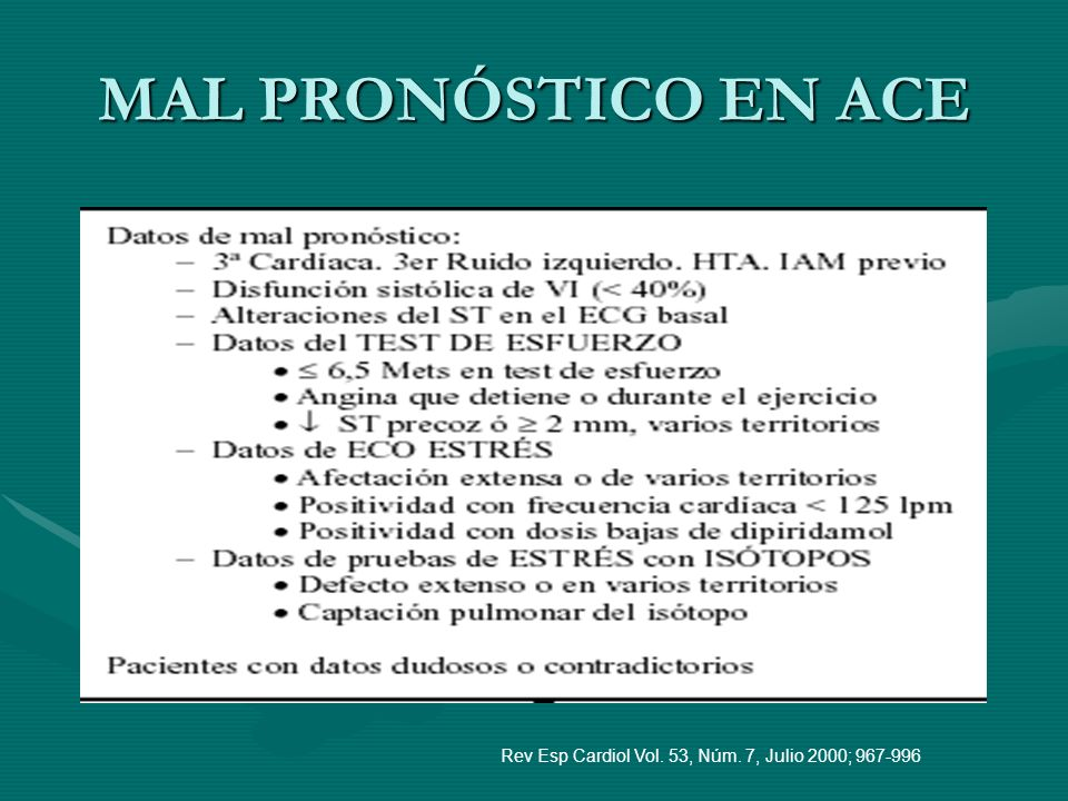 MAL PRONÓSTICO EN ACE Rev Esp Cardiol Vol. 53, Núm. 7, Julio 2000; 967-996