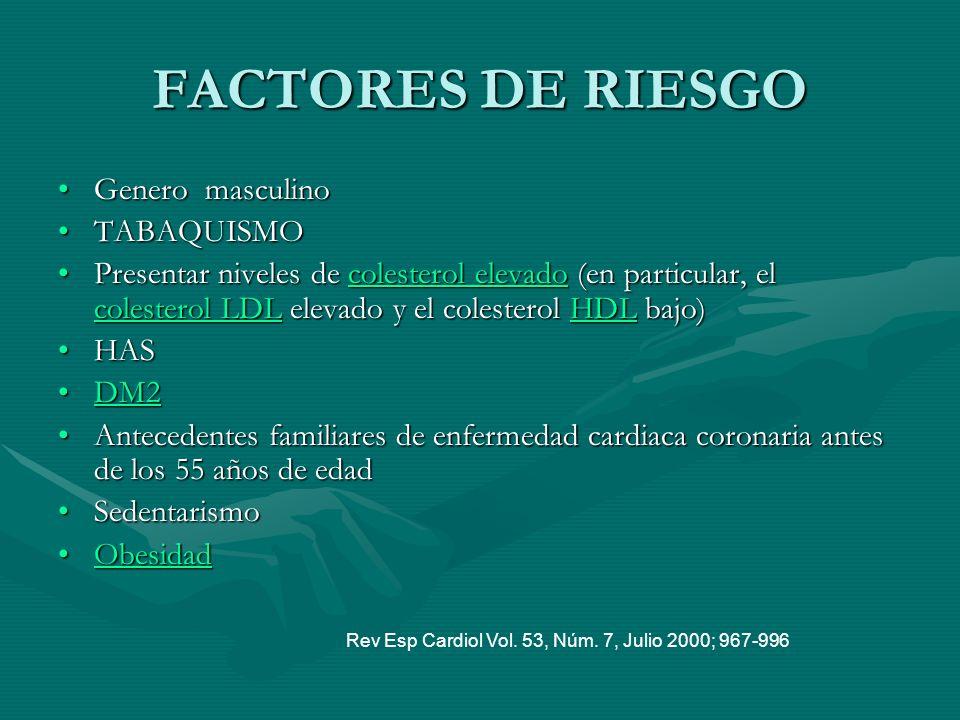 FACTORES DE RIESGO Genero masculino TABAQUISMO
