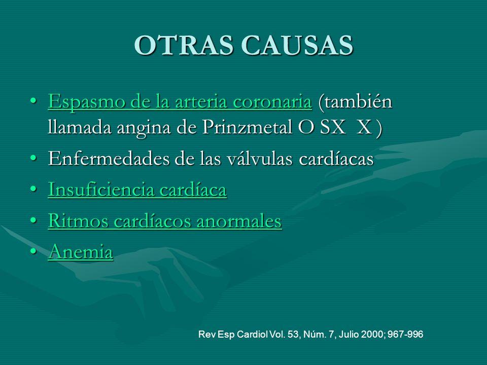 OTRAS CAUSAS Espasmo de la arteria coronaria (también llamada angina de Prinzmetal O SX X ) Enfermedades de las válvulas cardíacas.