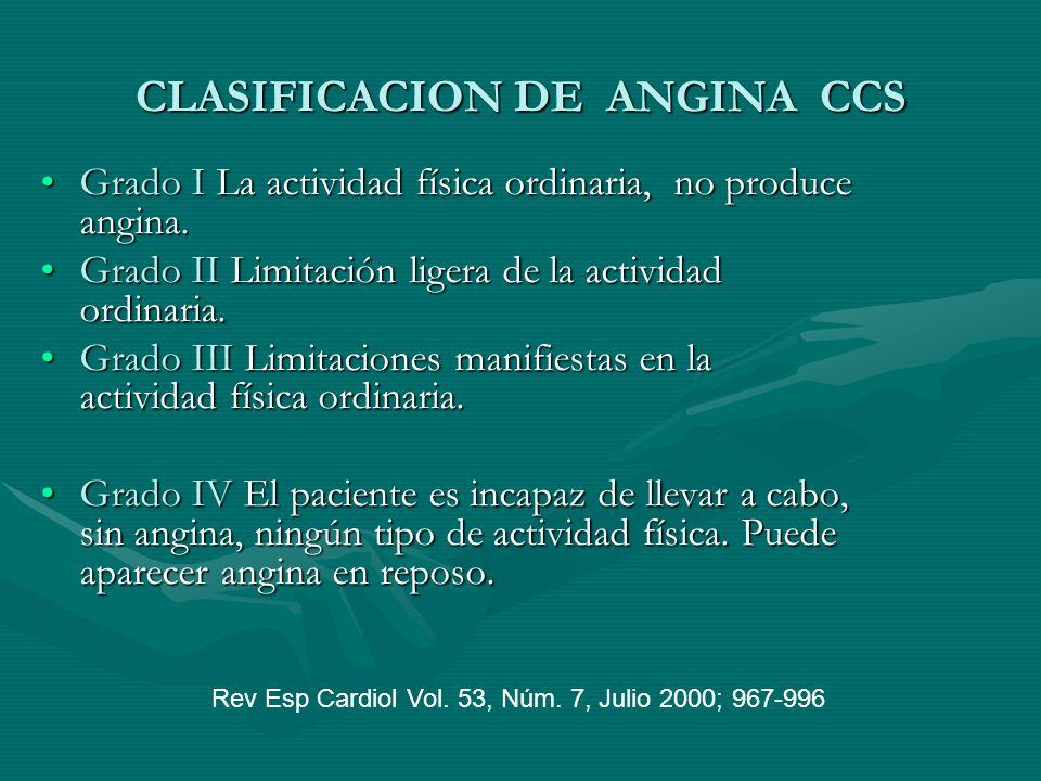 CLASIFICACION DE ANGINA CCS