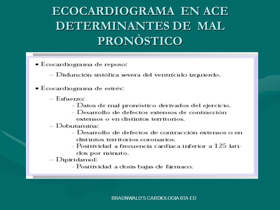 ECOCARDIOGRAMA EN ACE DETERMINANTES DE MAL PRONÒSTICO