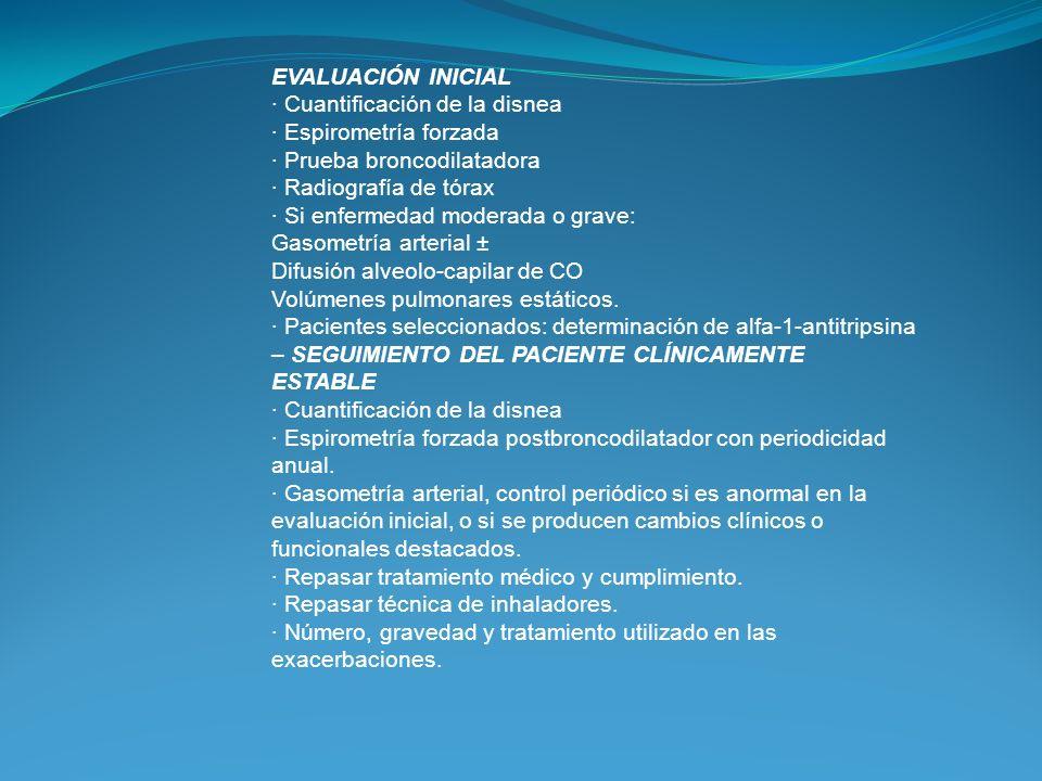 EVALUACIÓN INICIAL · Cuantificación de la disnea. · Espirometría forzada. · Prueba broncodilatadora.